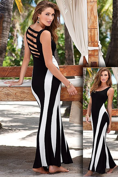 Open Back Caged Maxi Dress