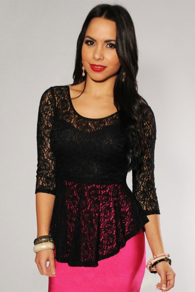 Allover Lace Extreme Peplum Top Black