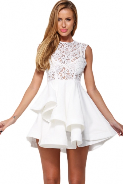 White Romance Lace Asymmetric Hem Skater Dress