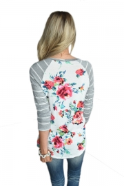 Grey Striped Sleeves Floral Top