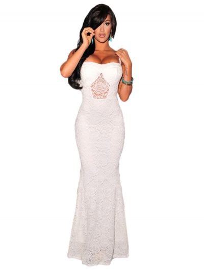 Off White Mermaid Lace Maxi Evening Gown