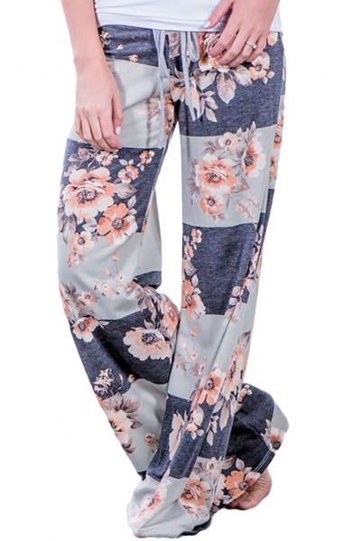 Grey Bold Stripes Flora Terry Wide Leg Pants