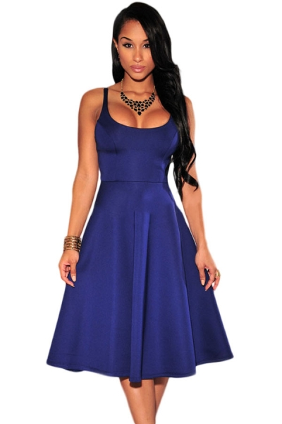 Blue Spaghetti Straps Skater Dress