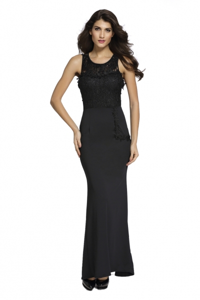 Lace Embellished Sleeveless Maxi Evening Dress