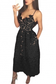 Black Lace Hollow Out Nude Illusion Party Dress