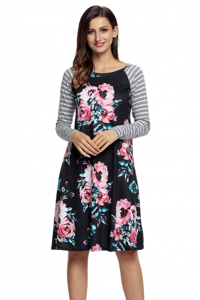 Black Floral Print Stripe Raglan Sleeve Dress