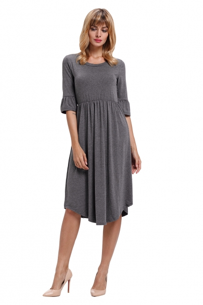 Gray Ruffle Sleeve Midi Jersey Dress