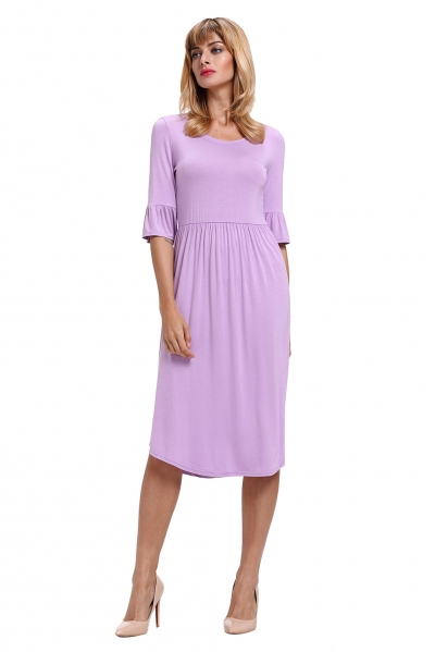 Purple Ruffle Sleeve Midi Jersey Dress
