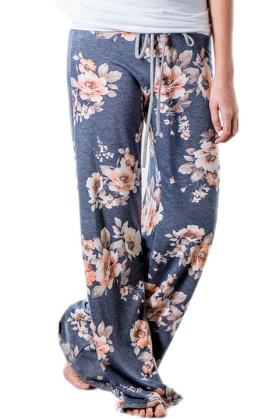 Deep Grey Floral Terry Wide Leg Pants ZEKELA.com