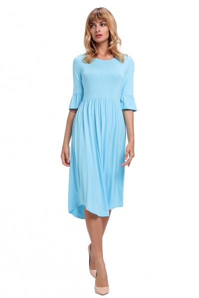 Blue Ruffle Sleeve Midi Jersey Dress