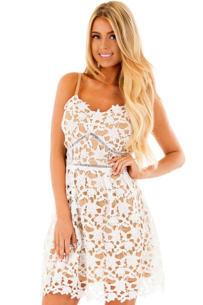White Sleeveless Crochet Dress with Nude Lining