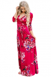 Scarlet Floral Print Wrapped Long Boho Dress