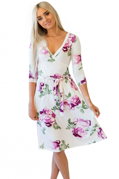 Purple Blossom Print White Wrap Floral Dress