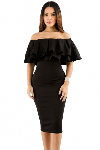 Black Layered Ruffle Off Shoulder Midi Dress