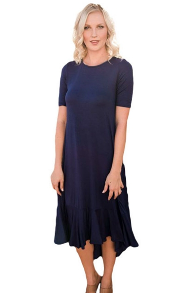 Navy Blue Flowy Ruffles Short Sleeve Casual Dress