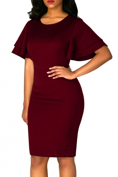 Purplish Red Flare Sleeve Back Slit Sheath Dress