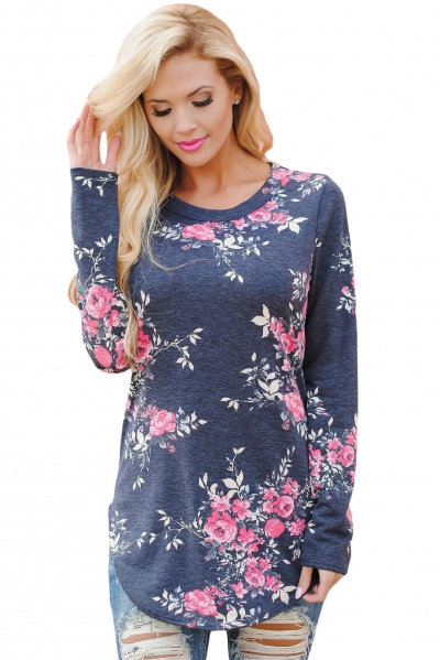 Gray Long Sleeve Floral Autumn Womens Top ZEKELA.com