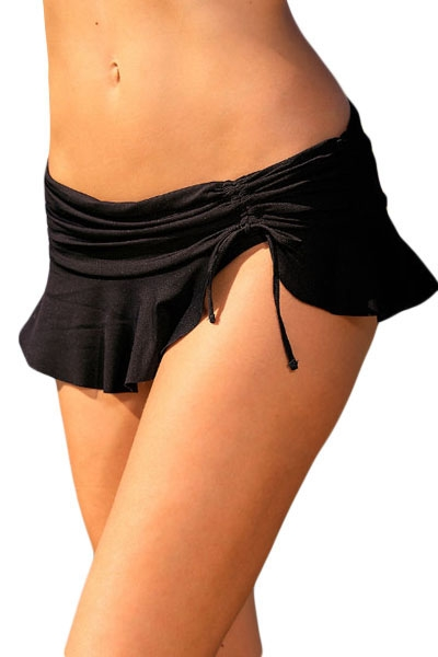 Black Side Tie Skirted Hipster Bikini Bottom