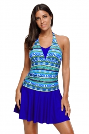 Aztec Print Royal Blue Halterneck One Piece Swimdress