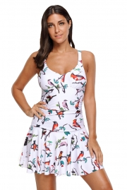 Lively Bird Print Ruched One Piece Swimdress