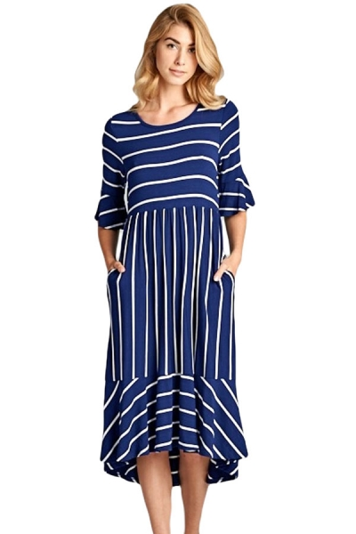 Navy White Striped Bell Sleeve Hi-low Midi Dress
