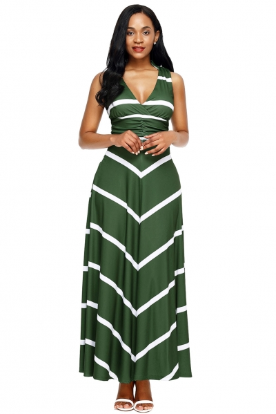 Olive V Neck Cut out Back Printed Maxi Dress