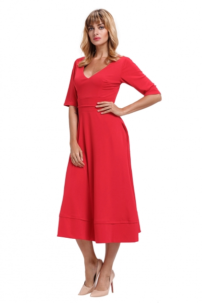 Red Half Sleeve V Neck High Waist Flared Dress