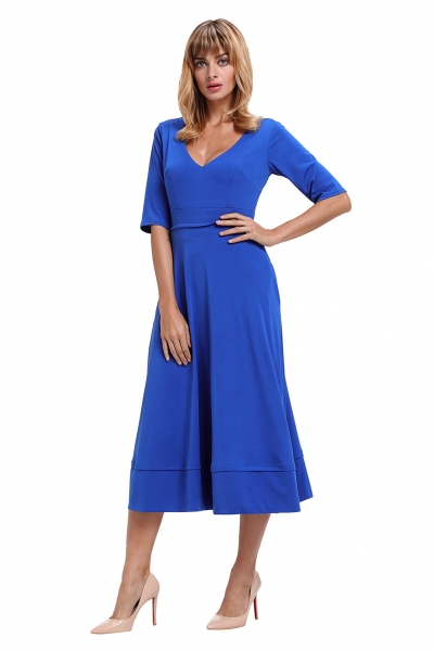 Blue Half Sleeve V Neck High Waist Flared Dress