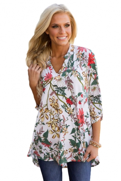 White Magenta Floral Print Slight V Neck Blouse