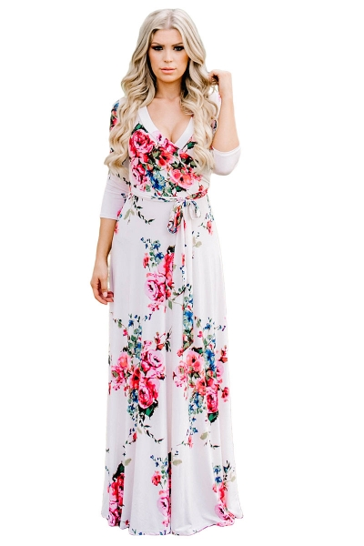 White Blooming Flower Print Wrap V Neck Boho Dress