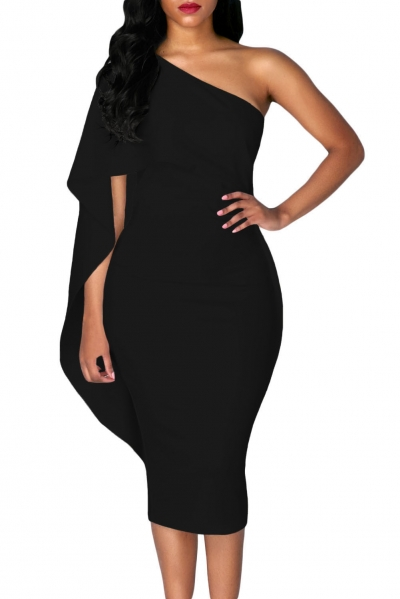 Black Batwing Sleeve One Shoulder Sheath Dress ZEKELA.com