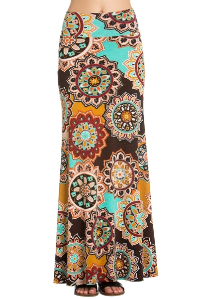Brown Yellow Bohemian Print Maxi Skirt