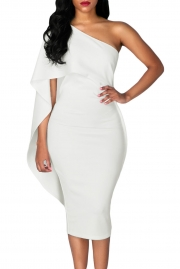White Batwing Sleeve One Shoulder Sheath Dress