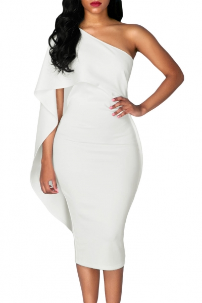 White Batwing Sleeve One Shoulder Sheath Dress ZEKELA.com