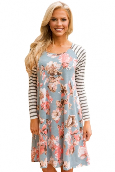 Blue Floral Print Stripe Raglan Sleeve Dress