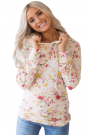 Hooded Floral Sweatshirt with Drawstring