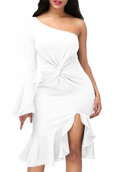 White Twist and Ruffle Accent One Shoulder Prom Dress