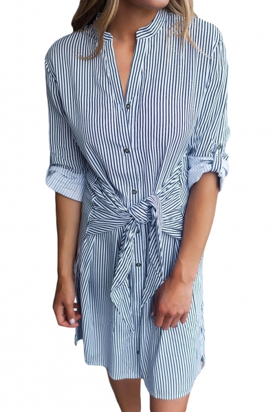Navy Striped Tie Waist Button Down Shirt Dress