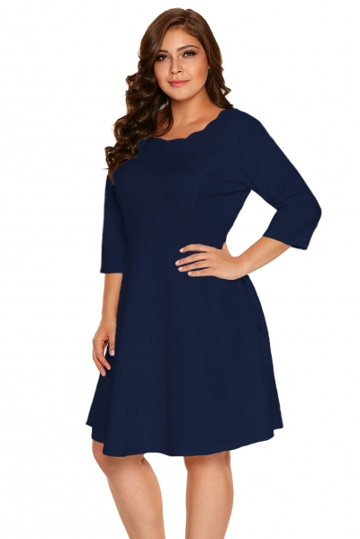 Navy Scalloped Neckline 3/4 Sleeve Skater Dress