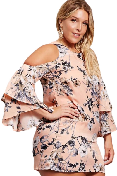 Pink Cold Shoulder Floral Print Plus Size Dress