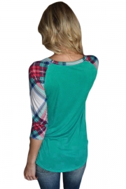 Vibrant Plaid Raglan Sleeve Green Top