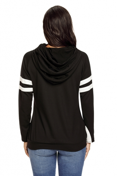 Black Kangaroo Pocket Double Hooded Sweatshirt zekela.com