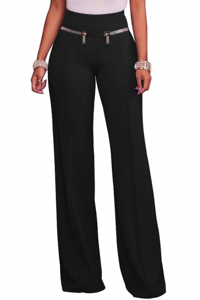 Black Gold Zipper Detail High Waist Palazzo Pants