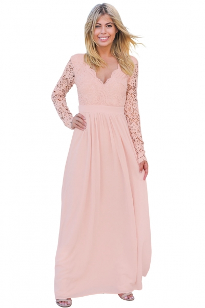 Pink Open Back Long Sleeve Crochet Maxi Party Dress