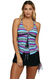 Multi Striped Tankini and Skirtini Swimsuit
