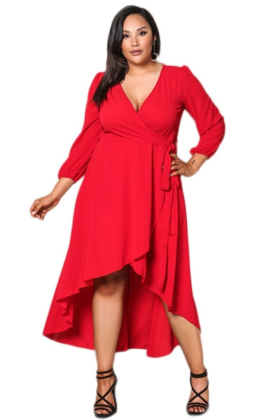 Red Ruffle Wrap Plus Size Hi-low Dress