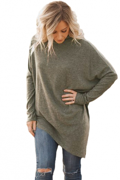Coffee Soft Faux Poncho High Neck Sweater