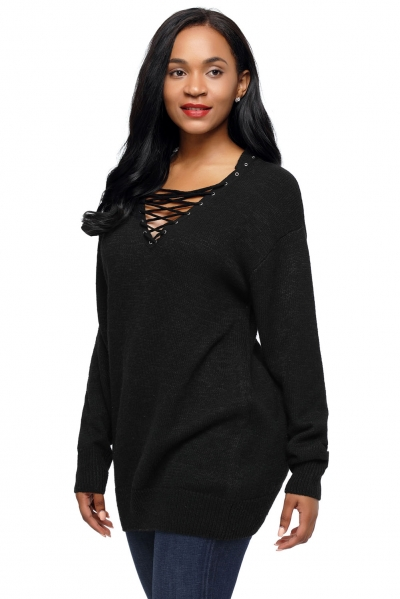Black Chic Long Sleeve Sweater with Lace up Neckline zekela.com