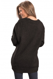 Black Chic Long Sleeve Sweater with Lace up Neckline