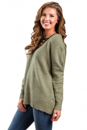 Olive Chic Long Sleeve Sweater with Lace up Neckline
